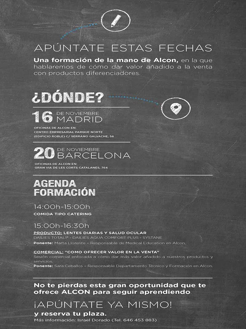 9b0a325e97 Cione y Alcon programan dos sesiones de formación sobre ...