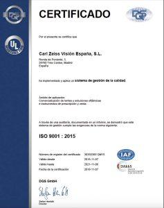 ZEISS certificado calidad